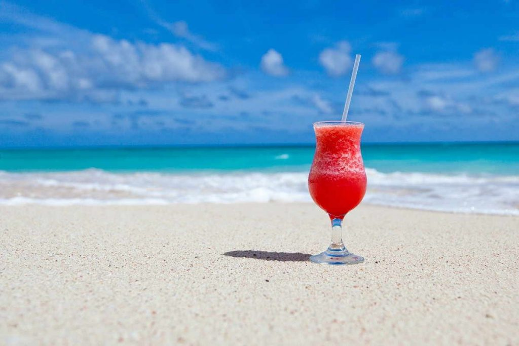 cold drink on a beach